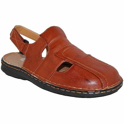 Jon KRAZY Shoe Artists Relaxing Men's Slip-on Velcro Strap Cognac Sandals