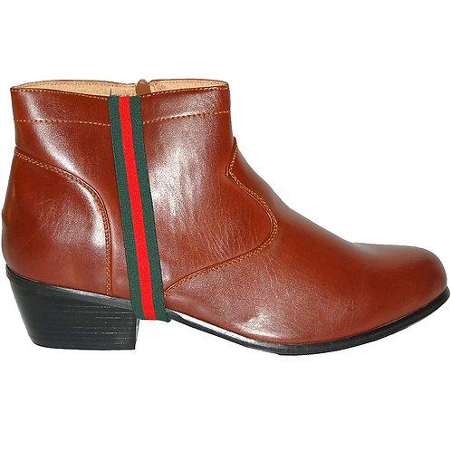 KRAZY Brown Zipper Men's Cuban Heel Boot with Side green-red Ornament