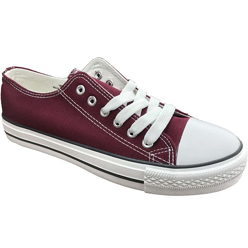 Cool Skater Style Shoe Artists Republic Collection Men's Burgundy Canvas Sneaker