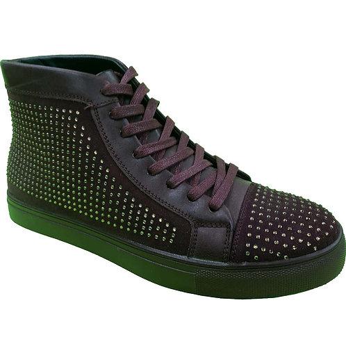 Shoe Artists Republic Collection Men's Coffee Dark Brown Hi Top Studded Sneaker