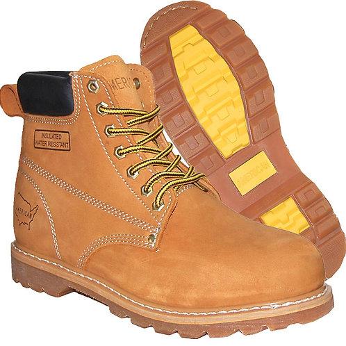 KRAZY Men's Soft Toe Tan Classic Stitching Genuine Leather Workboot