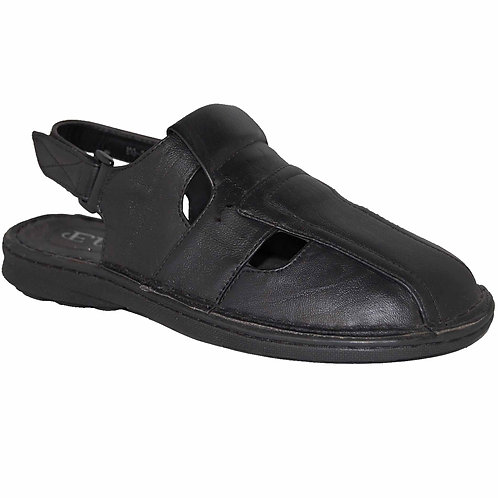 Jon KRAZY Shoe Artists Relaxing Men's Slip-on Velcro Strap Black Sandal