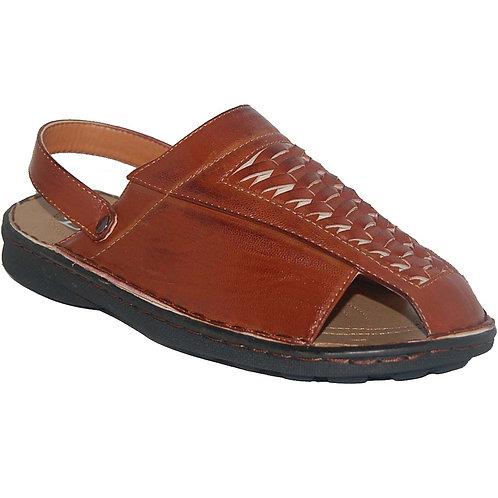 Milton KRAZY Shoes Breathable Men's Slip-on Adjustable Back Strap Cognac Sandals