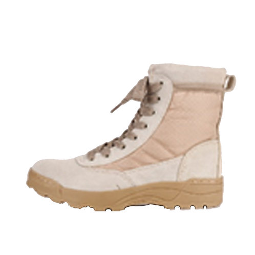 Rocko Men's 8 inch Beige Leather & Nylon Lace Up Combat Boot