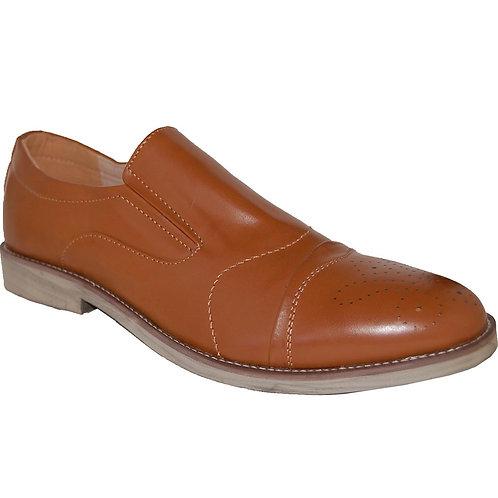 Robson KRAZY Shoe Artists Men's Brown Slip On Cap Toe Casual Dressy Shoe
