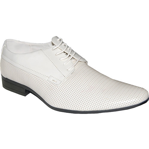 Smooth Talker Men's White Lace-up Dress Shoe with perforations