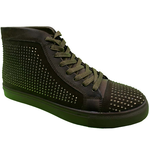 Shoe Artists Republic Collection Men's Hi Top Brown Green Studded Sneaker