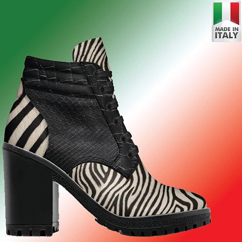 Custom Design Men's 3.3 inch Heel, Lace Up Boot - Both Zebra