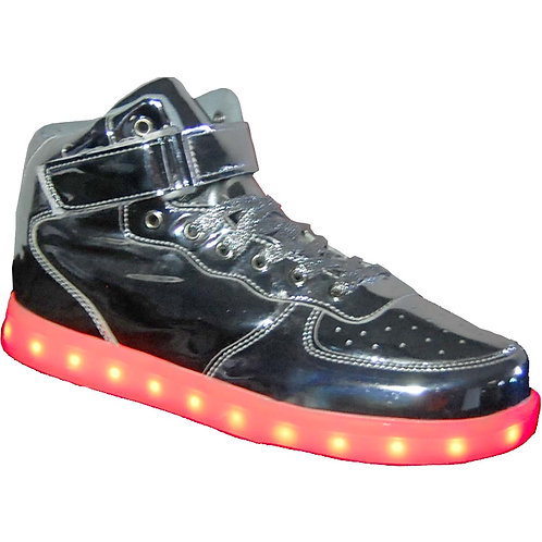 Forces KRAZY Shoe Artists Unisex LED Silver Light-up, high-top Sneaker