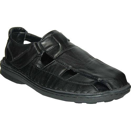 Phillip KRAZY Shoes Relaxing Men's Slip-on Velcro Black Sandals