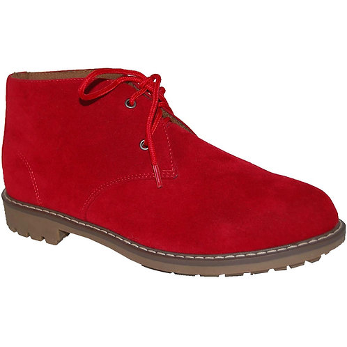 Suntum Men's Red Casual Lace-up Suede Chukka Boot
