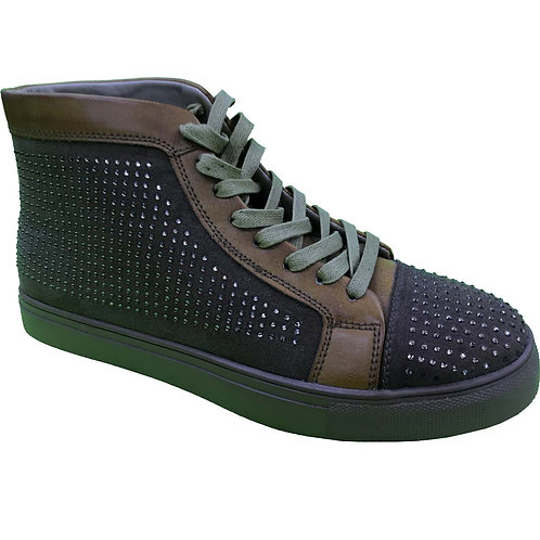 Shoe Artists Republic Collection Men's Brown Green Hi Top Studded Sneaker