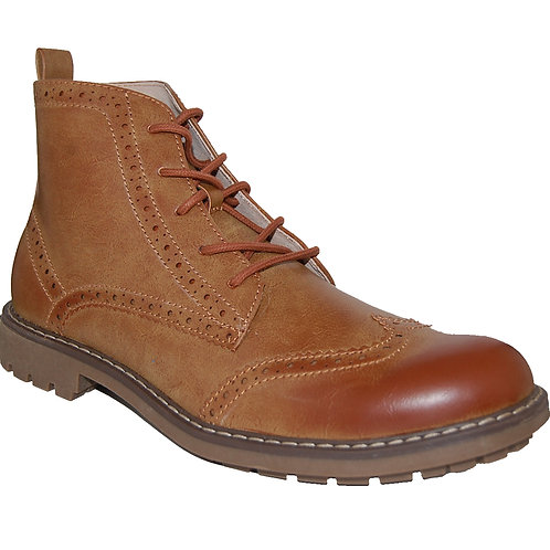 Walter Men's Brown Wingtip Design Lace-up Casual Boot