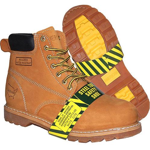 KRAZY Shoe Artists Men's Tan SteelToe Classic Stitching Genuine Leather Workboot