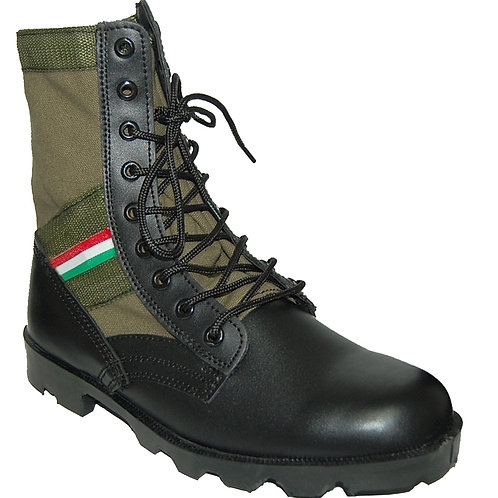 KRAZY Men's 8 inch Leather Tactical Green Boot with red-green-white Orna