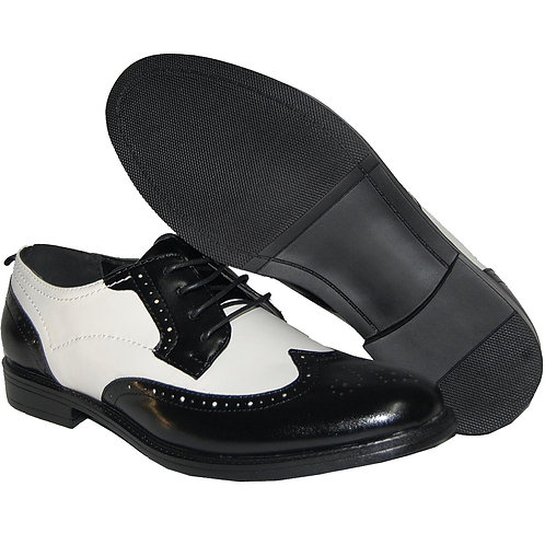KRAZY Shoe Artists Men's Black and White Tuxedo Lace Up Wingtip Dress Shoe