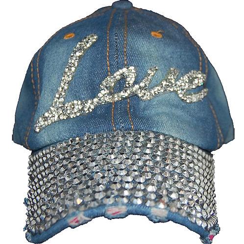 L-O-V-E Krazy Artists Lady's Designer Denim Strap-back Hat, One Size