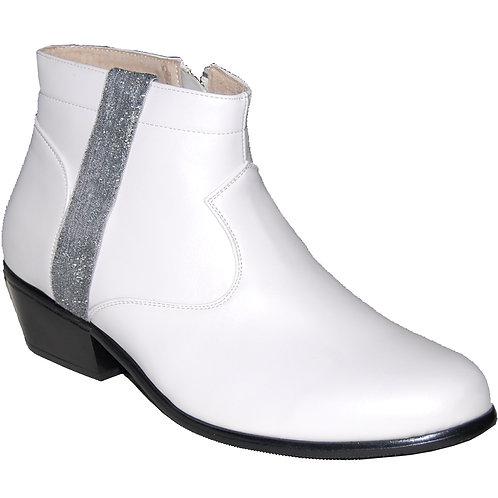 New Elvis White KRAZY Shoe Artists Men's Cuban Heel Shoe with Ornament 5