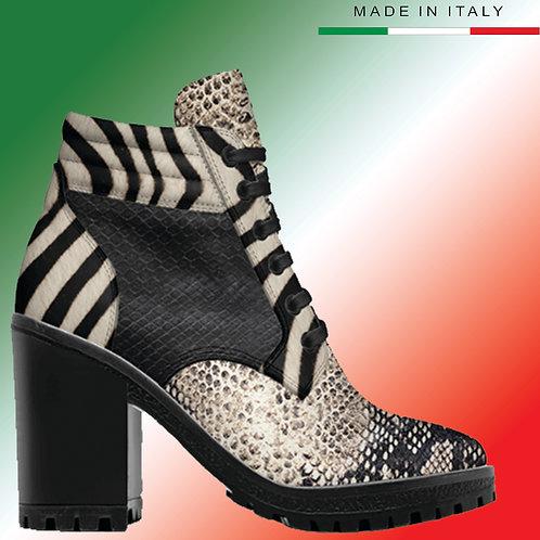 Custom Design Men's 3.3 inch Heel, Lace Up Boot - Zebra Mix