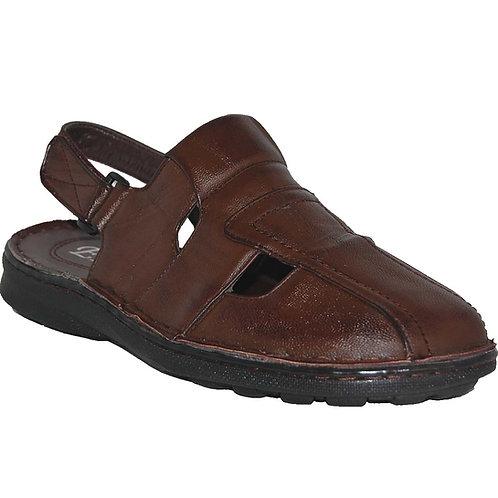 Jon KRAZY Shoe Artists Relaxing Men's Slip-on Velcro Strap Brown Sandals
