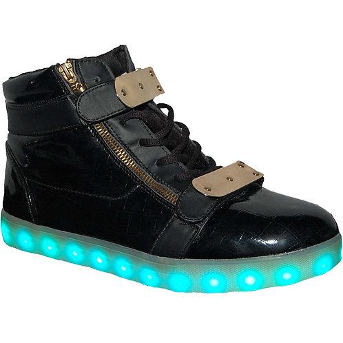KRAZY Shoe Jackson Fashion Unisex LED Black and Gold Light-up, high-top Sneaker