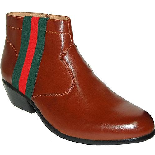 Men's KRAZY Shoe Brown Cuban Heel Boot, side zipper, wide green-red Ornament