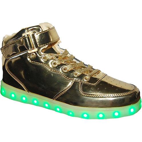 Forces KRAZY Shoe Artists Unisex LED Gold Light-up, high-top Sneaker