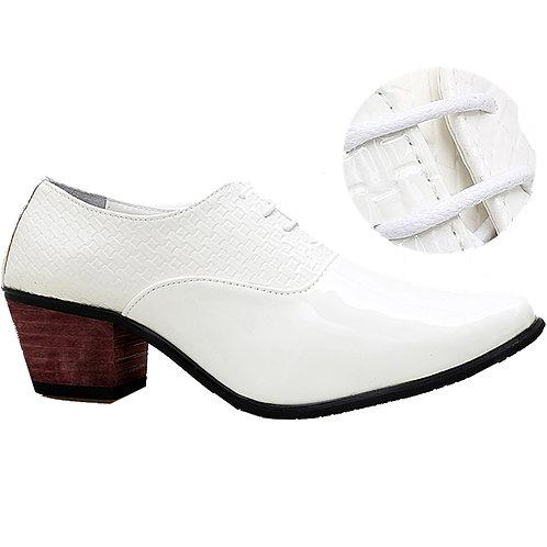 KRAZY Shoe Artists White Gorgeous Patent Men's Cuban Heel