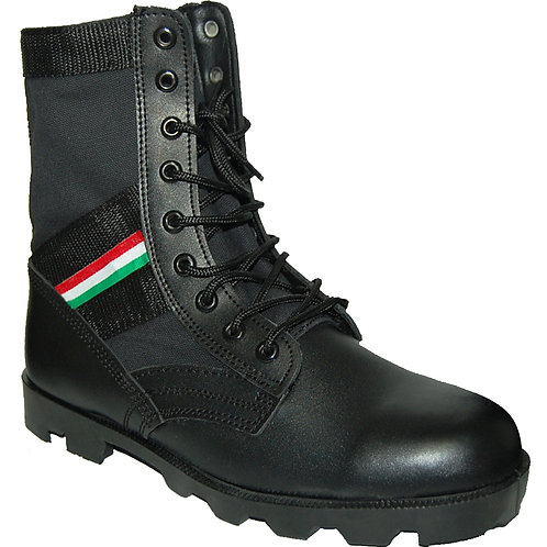 KRAZY Men's 8 inch Leather Tactical Black Boot with red-green-white Ornament
