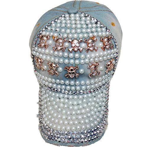 Krazy Fashion Women Designer Denim Skull Strap-back Hat, One Size Fits All