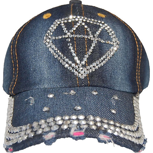 Diamond Girl Krazy Artists Lady's Designer Denim Strap-back Hat, One Size