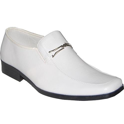 Sherlock KRAZY Shoe Artists Men's White Slip On Dress Shoe with Silver Buckle