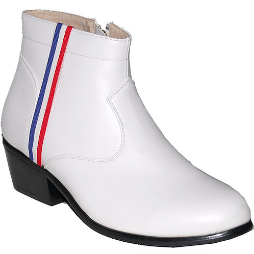 New Elvis White KRAZY Shoe Artists Men's Cuban Heel Shoe with Ornament 3