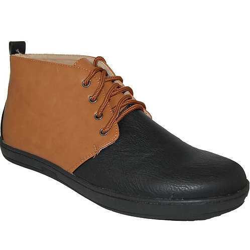 KRAZY Shoe Men's Two-Tone, Black-Tan Ankle Height Lace-up Casual Boot