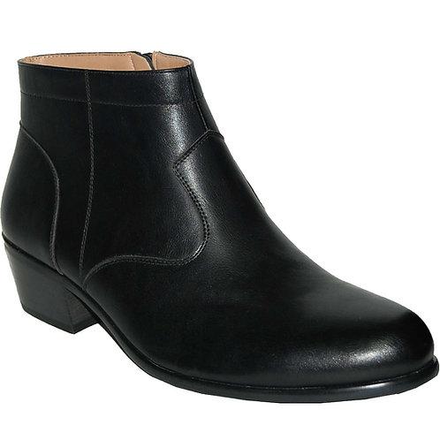 KRAZY Shoe Artists Rock Star Black Smooth Upper Zip Cuban Heel Boot