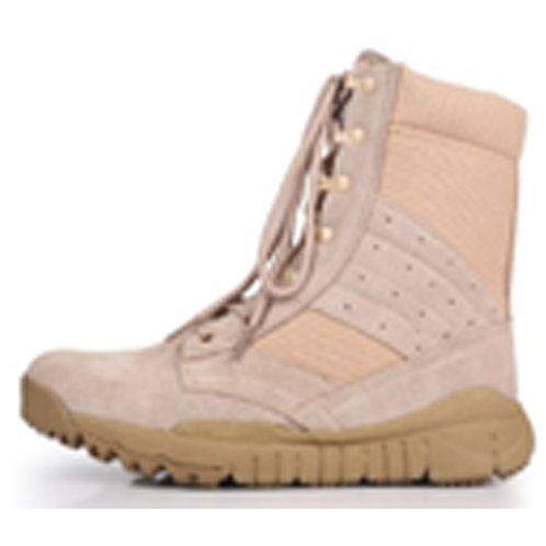 Men's 8 inch Light Beige Suede Leather & Nylon Chunky Sole Lace Up Jungle Boot