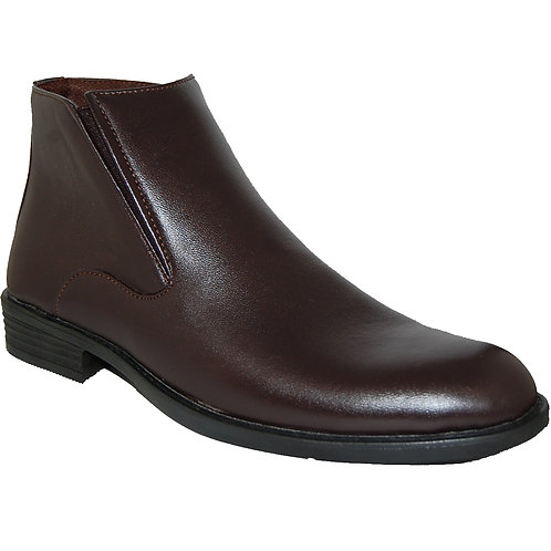KRAZY Shoe Lanfen Men's Brown Ankle Height Slip on Plain Upper Casual Boot