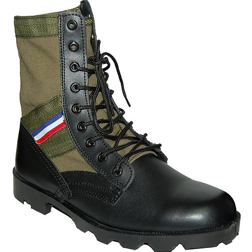 KRAZY Men's 8 inch Leather Tactical Green Boot with red-blue-white Ornament