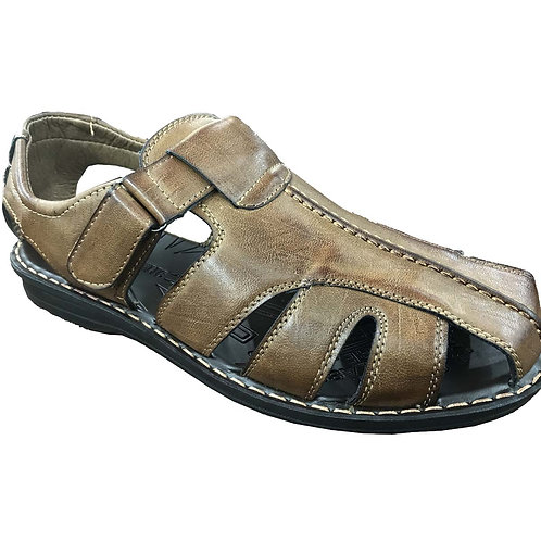 Slimex13 KRAZY Shoe Artists Relaxing Men's Slip-on Velcro Strap Tan Sandal
