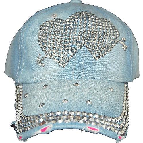 Cupids Arrow Krazy Artists Lady's Designer Denim Strap-back Hat, One Size