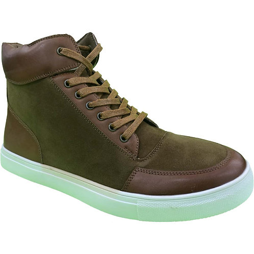 Sucamo Shoe Artists Republic Collection Men's Brown Velcro High Top Snea