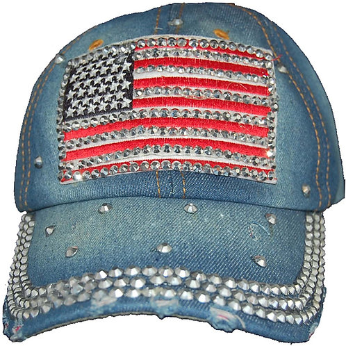 American Dream Krazy Artists Lady's Designer Denim Strap-back Hat, One Size