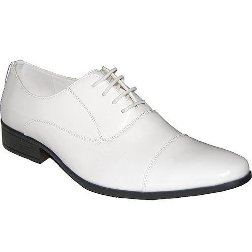 KRAZY Men's White patent Cap-toe Lace-up Dress Shoe