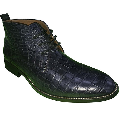 Kenzo Navy Shoe Artists Republic Crocodile Design Lace-up Casual Boot