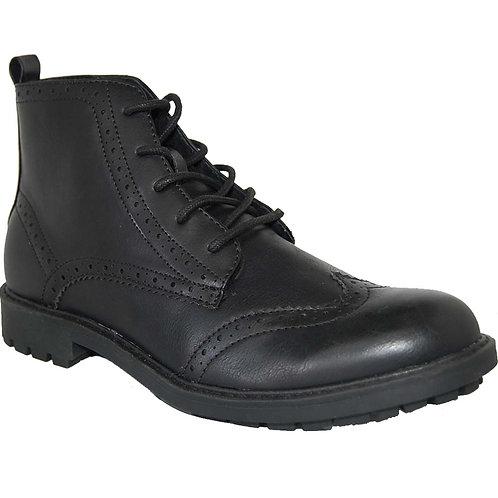 Tatum Men's Black Wingtip Design Lace-up Casual Boot