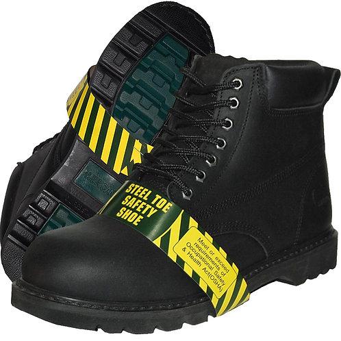 KRAZY Shoe Artists Men's Steel Toe Top Stitching Genuine Leather Black Workboot