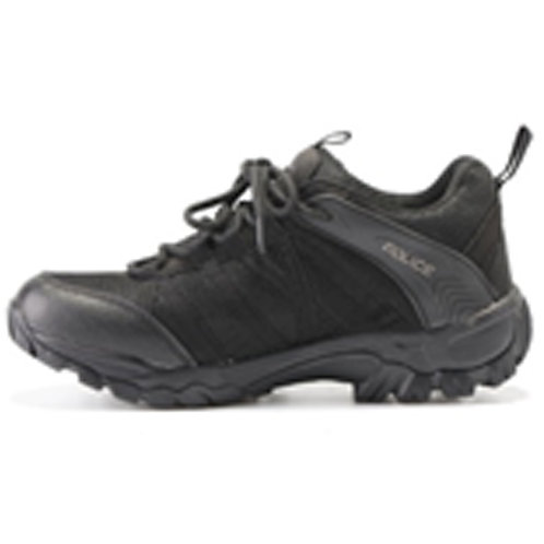 Men's 3 inch Police-Logo Lace Up Black Leather Tactical Shoe