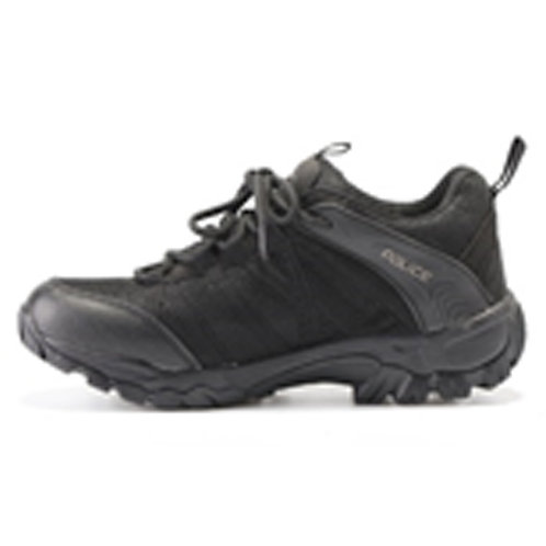POLI Men's 3 inch Lace Up Black Leather Tactical Shoe