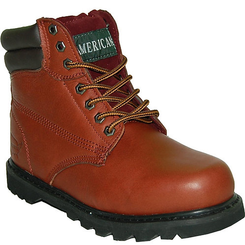 KRAZY Men's Soft Toe Beautiful Stitching Genuine Leather Red Brown Workboot