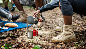 Without a doubt a great pair of jungle boots are the right way to go for a camping outing, being capable of keeping moisture out and maintaining the feet dry. Not excluding the fact that they're lightweight and durable.